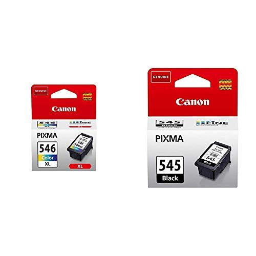 Canon CL-546XL Cartucho de tinta original Tricolor XL para Impresora de Inyeccion de tinta Pixma + PG-545 Cartucho de tinta original Negro para Impresora de Inyeccion de tinta Pixma