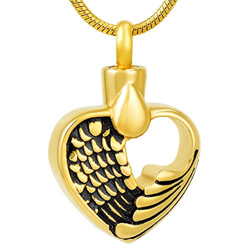GYBDD Keepsake Cremation Urn Necklace Steel Pendant Memorial Keepsake Cremation Jewelry in Pendant Necklaces for Women Wholesale Stainless Steel Cremation Ashes Femme,Vintage Feather Heart-B