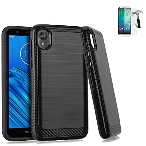 Phone Case Compatible with Straight Talk Motorola e6 / Motorola Moto E6 Case +Tempered Glass with Brush Textured Cover (Brush Black +Tempered Glass)