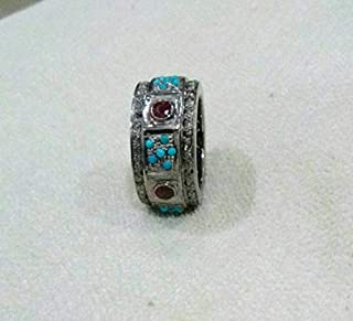 Bohemian Style Turquoise Rose Cut Diamond Ruby Statement Cocktail Sterling Silver Eternity Ring Band For Wedding Engagement