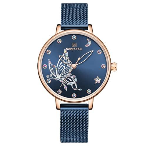 Alcentis-Naviforce - Reloj para mujer de alta gama, pulsera milanesa azul, esfera de oro rosa y cristal fondo azul, decoración de mariposa, suave, sensual y romántico