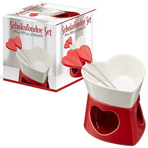 Preis am Stiel Schokofondue Set in Herzform | Geschenkidee für Verliebte | Schoko Fondue | Schokobrunnen | Küche | Küchenzubehör | Fondue Set
