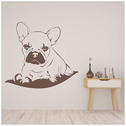 azutura Französische Bulldogge Wandtattoo Hündchen Wand Sticker Kids Bedroom Tierärzte Wohnkultur verfügbar in 5 Größen und 25 Farben Klein Nuss Braun