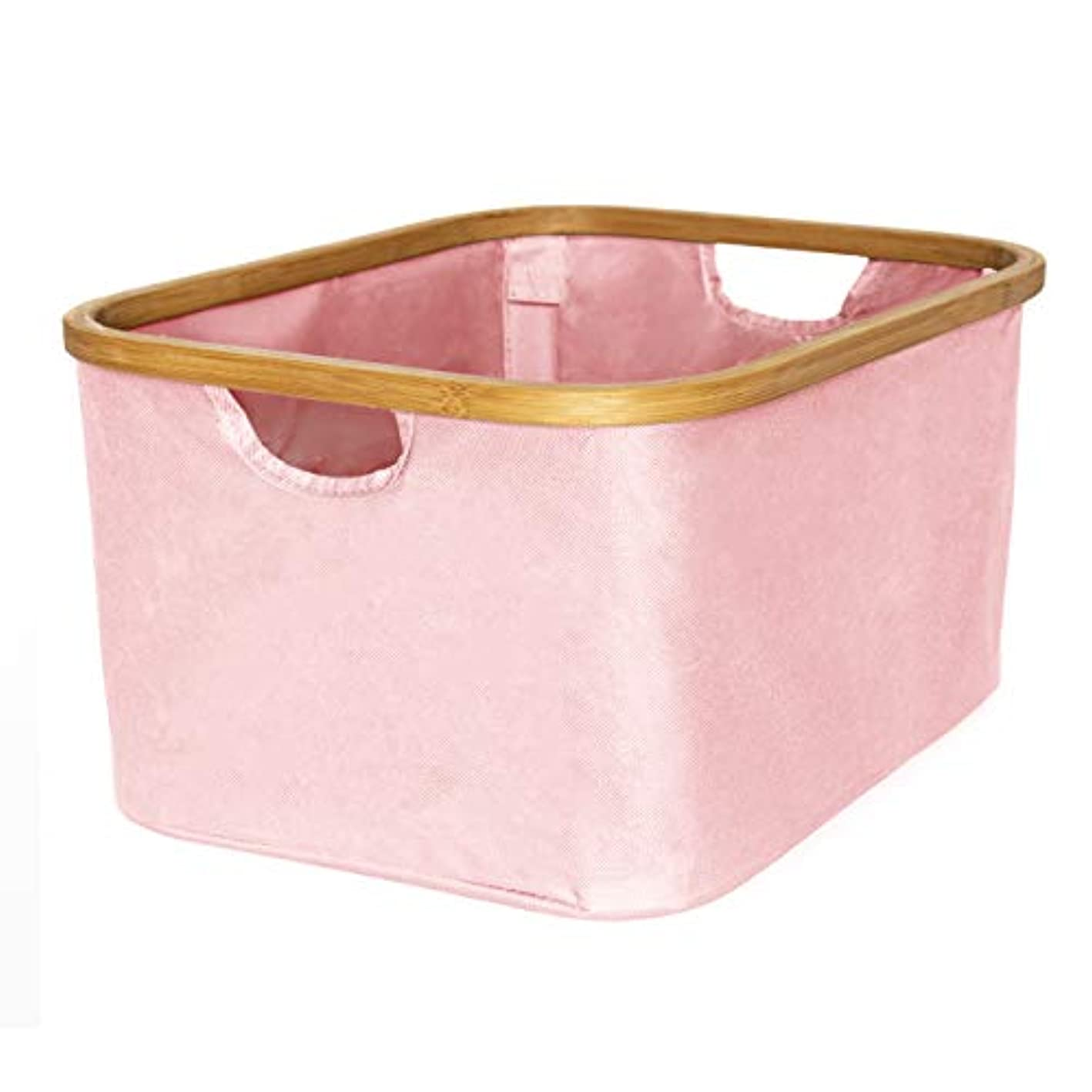 SPRUCED Laundry Basket Foldable Small with Handles - Portable Laundry Basket Collapsible Hamper | Canvas and Bamboo | Fabric Storage Bins for Clothes, Organization, Sorting (Pink)