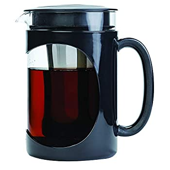 Primula Burke Deluxe Cold Brew Iced Coffee Maker Comfort Grip Handle Durable Glass Carafe Removable Mesh Filter Perfect 6 Cup Size Dishwasher Safe 1.6 Qt Black
