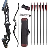 JINGYUN 58'' Archery Recurve Bow and Arrow Set for Adults Beginners, Aluminum Alloy Takedown Recurve Bow for Right Hand, Archery Hunting Training Practice (30-60 lb) (40LB)