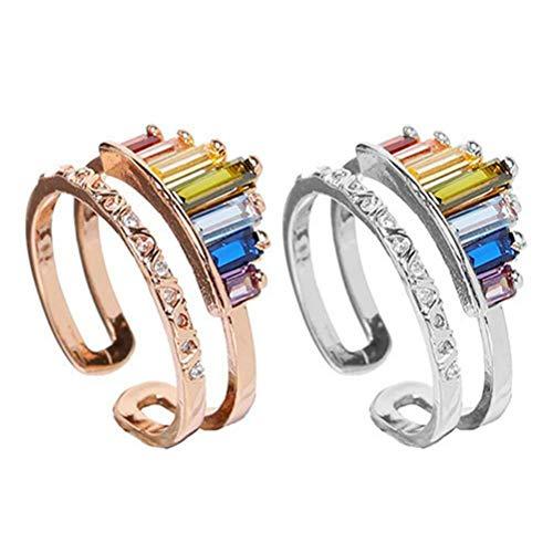 TiKiNi Anillo arcoíris, 2 unidades, doble banda arcoíris ajustable, banda ancha apilada, personalidad clásica, arcoíris, anillo precioso, el mejor regalo
