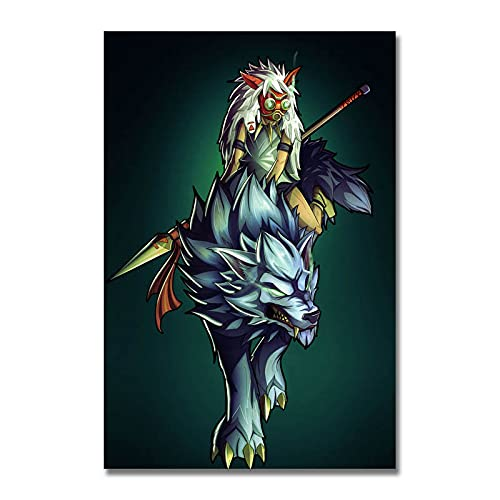 xinxinxiangrong Póster de película de Dibujos Animados de la Princesa Mononoke Ghibli, póster de Pintura en Lienzo para la decoración del hogar de Roma Viva A358 50 × 70 cm sin Marco