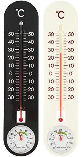 com-four® 2X Thermometer für Innen und Außen - Thermo-Hygrometer mit Grad Celsius Skala - Temperatur- und Luftfeuchtigkeitsmesser (2 Stück - Thermo-Hygrometer)