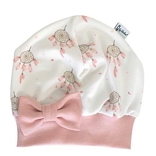 Sharlene Mütze Schleife Traumfänger Rose (Rose) Baby Mütze Beanie Mitwachsgrößen handgefertigt in Deutschland (38-44)