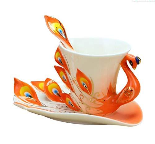 YUEMING Taza de cerámica Taza De Café Esmalte Pavo Real Vajilla Chino Elegante Moda Taza De Cerámica para Té (Naranja)
