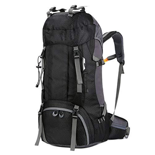 OASIS LAND 60L Camping Hiking Backpacks Outdoor Bag Tourist Backpacks Nylon Sport Bag for Climbing Travelling with Rain Cover-Black60L-OneSize