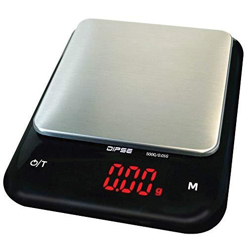 DIPSE AS-500 Balance de cuisine numérique professionnelle avec technologie Li Ion 320 mAh – Pèse-personne et surface de pesée en acier inoxydable – 500 g en 0, 01 g – Écran LED