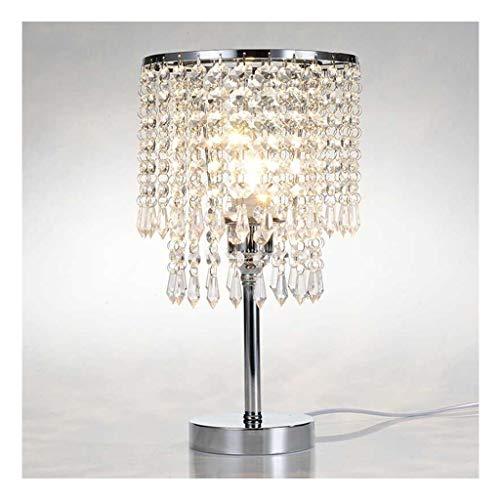 Lampe de table à gradation en cristal décorative élégante de salon en chrome, lampe de bureau avec abat-jour en cristal pour chambre, commode, salon, dortoir d'université, table basse, bibliothèque ou