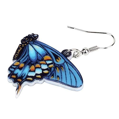 XUBB Acryl Floral Blue Butterfly Ohrringe Big Drop Symmetrischer Insektenschmuck für Frauen Mädchen Damen Geschenk
