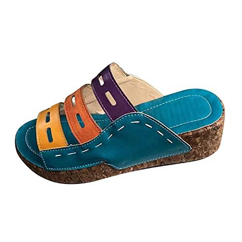 Damen Sandalen Farbe Keilsandalen Plateausandalen Plateauschuhe Wedge Platform Slingback Peep Toe Slip On Hausschuhe Slipper Sommer Sandals Freizeitschuhe(1-Blau/Blue,40) 1321