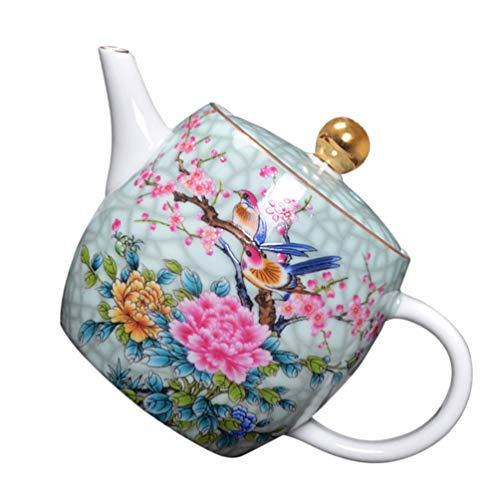 Hemoton Tetera de Flor de Cerámica Cafetera Olla de Agua para Té de Hoja Suelta con Mango de Porcelana Regalo del Día de Las Madres