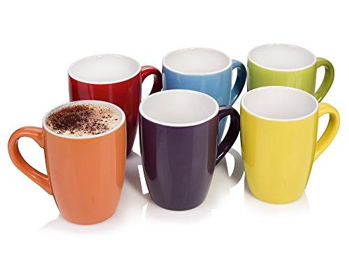 Bluespoon Kaffeebecher Colorido aus Porzellan 6er Set | Füllmenge der Kaffeetassen 300 ml | Farbenfrohes Tassen Set für leckere Heißgetränke