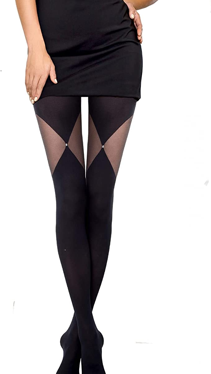 Conte Tights Opaque Petterned Rhinestone Patch Pantyhose Foxy 60 Den