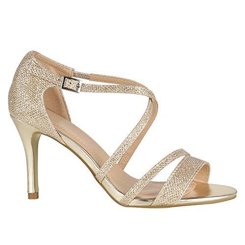 stiefelparadies Damen Lack Sandaletten T-Strap Metallic Riemchensandaletten Schuhe 144454 Gold Metallic 36 EU Flandell