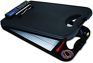 Saunders DeskMate II with Calculator 00534 Plastic Storage Clipboard - Black, Letter Size, 10 in. x 16 in. Document Holder with Internal Storage
