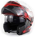 LONGXI Casco de la Motocicleta Locomotora Doble Visera para el Sol Casco Modular de Cara Completa Auriculares Bluetooth Cuatro Estaciones Universal Off-Road Bluetooth Casco,01,XXL