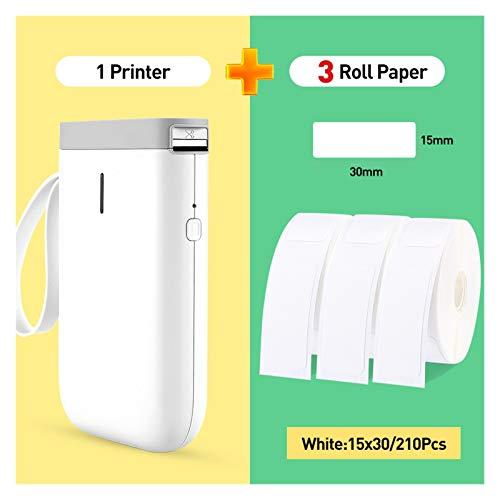 MMD Wireless Label Printer Étiquette Pocket Portable Imprimante Mini Bluetooth Étiquette Imprimante Thermique Home Office Papier d'imprimante (Color : White 3WhiteLabel A)