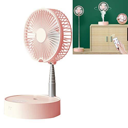 Ventilador De Pie Oscilante De NebulizacióN, Alimentado Por USB Ventilador PortáTil De Agua Ventilador De Enfriamiento,Ventilador TelescóPico Con Luz Nocturna Para Hogar, Oficina Y Viajes,Pink