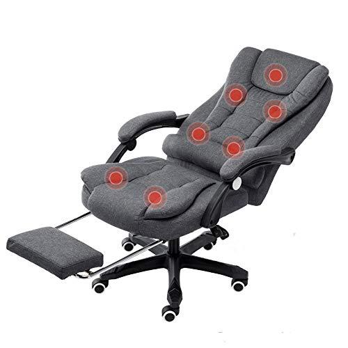WANGXL Massage Bürostuhl 175 ° Lehnstuhl, 7-Punkt-massagesessel Mit Fußstütze Für Das Büro Zu Hause, Gepolstertem Leinenstoff Und Drehgestell,Grey