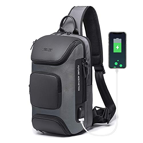 OZUKO Sling Backpack Sling Bag Crossbody Backpack Shoulder Casual Daypack Rucksack for Men (Gray1)