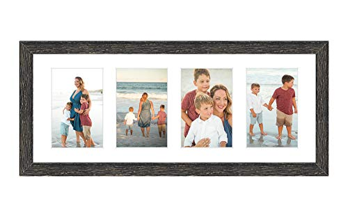 Golden State Art, 8x20 Distressed Black Wood Picture Frame - White Mat for Four 4x6 Photos/Pictures - Sawtooth Hanger - Swivel Tabs - Wall Mounting - Landscape/Portrait - Collage Display - Real Glass