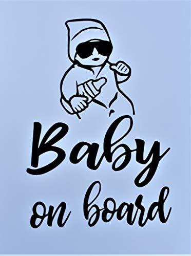 Baby on Board Aufkleber 20x14cm - Auto Aufkleber Schwarz - Sticker Wasserfest und Langlebig - Baby on Board Aufkleber Auto