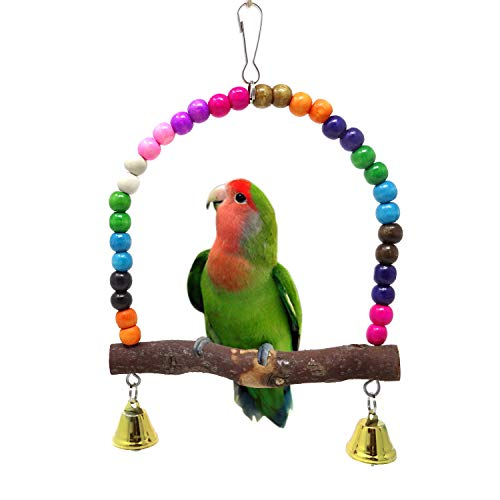 HONBAY Wooden Bird Swing Perch Parrot Hanging Toy for Small Sized Birds