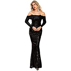 Black Slash Neck Off Shoulder Long Sleeve Sequin Maxi Dress