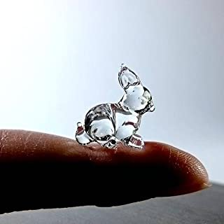 Sansukjai Rare Rabbit Tiny Micro Crystal Figurines Hand Blown Clear Glass Art Pet Animals Collectible Gift Home Decor