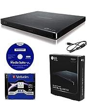 موقد خارجي محمول 6X الترا اتش دي 4K من ال جي BP60NB10 مع برنامج CyberLink، 25 جيجا M-DISC BD-R، وكابل USB - أقراص ناسقة CD DVD BD DL BDXL