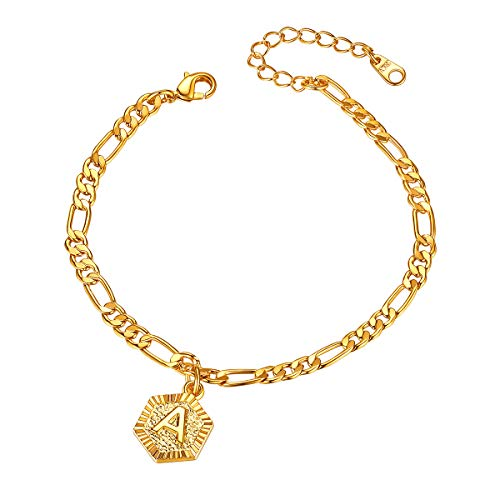 FOCALOOK Anklets for Women with Initial 18K Gold Plated Foot Jewellery 4mm Figro Chain Initial Letter Alphabet Ankle Bracelet(A)
