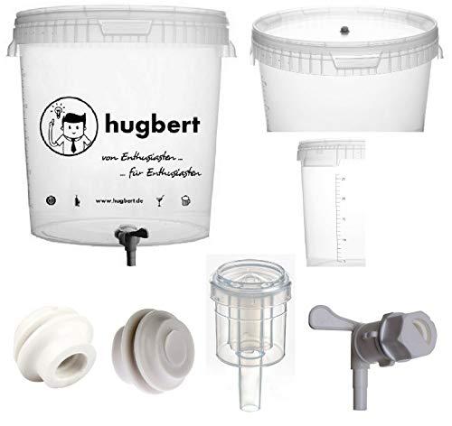HUGBERT Set 5, 30/33L, Gärbehälter mit Skala Ablaufhahn mit Schlammreduzierung Gärungsrohr
