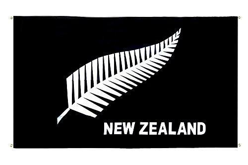 Digni Drapeau de Balcon (avec 4 Oeillets) Nouvelle-Zélande Plume All Blacks - 90 x 150 cm Sticker Gratuit