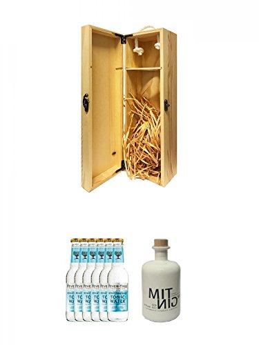1a Whisky Holzbox für 1 Flasche mit Hakenverschluss + Fever Tree Mediterranean Tonic Water 6 x 0,2 Liter + Mitnig 58 Gin White 0,5 Liter