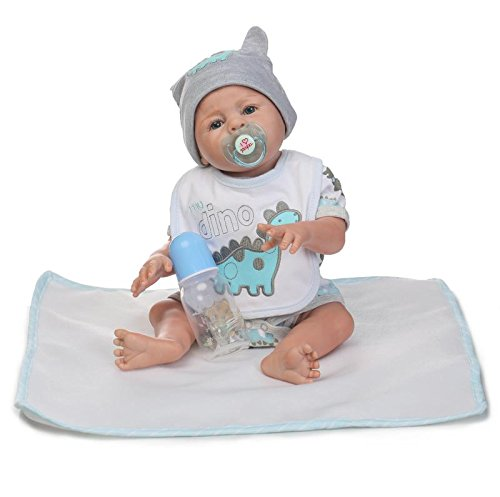 iCradle Reborn Doll 20 Pollici 50cm Realistico Full Body Silicone Vinile Baby Doll Mohair Boy Girl Twins Doll Regali di Compleanno (Boy)