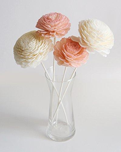 plawanature Lot de 4 Pastel Couleur 7,6 cm Jasmin Sola en Bois Fleur avec diffuseur pour la maison Huile parfum parfum.