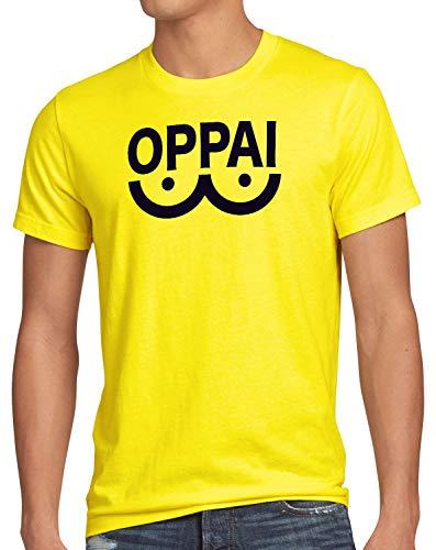 style3 Oppai One Punch Herren T-Shirt Anime Manga, Farbe:Gelb, Größe:4XL
