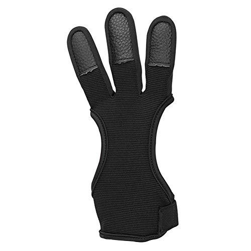 Bogenschießen Handschuhe Fingerschutz Pfeil Bogen Finger-Handschuhe Bogen DREI-Finger-recurve-schutzausrüstung Zubehör Für Erwachsene Anfänger (schwarz M)