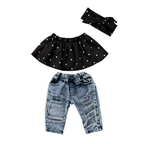 Carolilly - Conjunto de 3 piezas para niña recién nacida, vestido de verano sin tirantes con lunares + pantalones vaqueros + diadema Negro 0-6 Meses