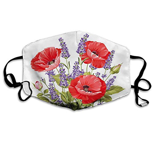 Lavender Bunch of Lavender and Poppy Flowers Fresh Rustic Botanical Bouquet Red Violet Olive Green Reusable Face Mask Balaclava Washable Outdoor Nose Mouth Cover for Men and Women