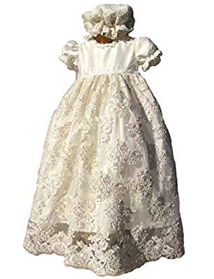 FAIOKAVER Lace Baptism Dresses Baby Girls Toddler Christening Gowns with Bonnet and Bib Ivory
