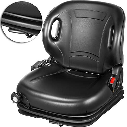 VEVOR Tractor Seat, Suspension Seat with 70° Adjustable Backrest, Forklift Seat Compatible With Toyota Tractors, Forklifts, Suspension Tractor Seat and Forklift Seat with Seat Belt for Replacement