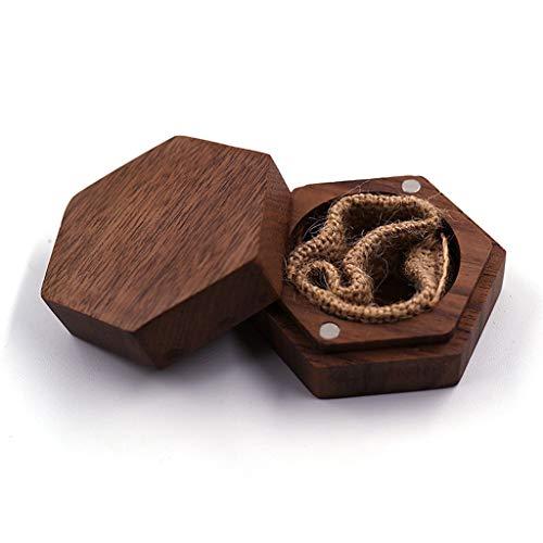 zhichy Caja portadora de anillos de madera, para anillos de compromiso de boda, caja de almacenamiento de joyas, para anillos, pendientes, collares, accesorios, regalos
