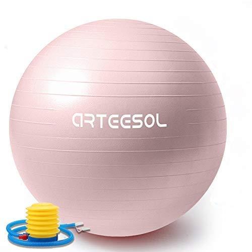 arteesol Pelota de Ejercicio, 45cm/55cm/65cm/75cm Pelota de Yoga Fitness Estabilizador Resistente Bola de Equilibrio con Bomba rápida para la Fuerza del núcleo (55cm, Rosa Claro)
